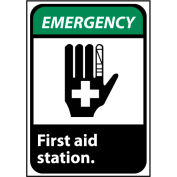 Emergency Sign 10x7 Vinyl - First Aid Station