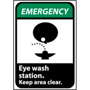 Emergency Sign 10x7 Rigid Plastic - Eye Wash Station Keep Area Clear