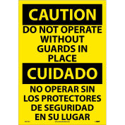 Bilingual Vinyl Sign - Caution Do Not Operate Without Guards In Place