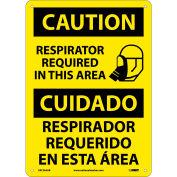 Bilingual Aluminum Sign - Caution Respirator Required In This Area