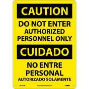 Bilingual Plastic Sign - Caution Do Not Enter Authorized Personnel Only