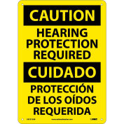 Bilingual Aluminum Sign - Caution Hearing Protection Required