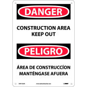 Bilingual Aluminum Sign - Danger Construction Area Keep Out