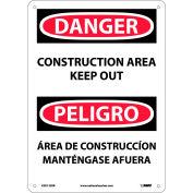 Bilingual Plastic Sign - Danger Construction Area Keep Out