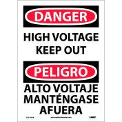 Bilingual Vinyl Sign - Danger High Voltage Keep Out