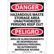Bilingual Aluminum Sign - Danger Hazardous Waste Storage Area Unauthorized Out