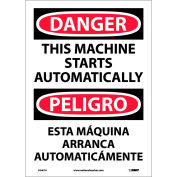 Bilingual Vinyl Sign - Danger This Machine Starts Automatically