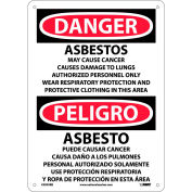 Bilingual Plastic Sign - Danger Asbestos Cancer And Lung Disease Hazard