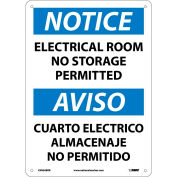 Bilingual Plastic Sign - Notice Electrical Room No Storage Permitted