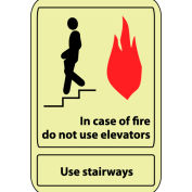 Glow Sign Rigid Plastic - 14X10 In Case Of Fire Do Not Use Elevator