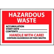 Hazardous Waste Vinyl Labels - Hazardous Waste Handle With Care