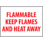 Fire Safety Sign - Flammable Keep Flames And Heat Away - Vinyl