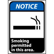 Notice Sign 10x7 Vinyl - Smoking Permitted In This Area