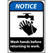 Notice Sign 14x10 Rigid Plastic - Wash Hands Before Returning To Work