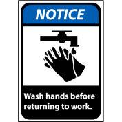 Avis de signer 14 x 10 en plastique rigide - Lavez-vous les mains avant de retourner au travail