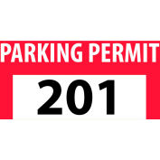 Parking Permit - Red Bumper Decal 201 - 300