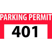 Parking Permit - Red Bumper Decal 401 - 500
