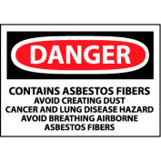 Roll of 500 Hazard Warning Paper Labels - Danger Contains Asbestos Fibers
