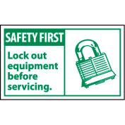 Graphic Machine Labels - Safety First Lockout Equipment Before Servicing