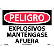 Spanish Plastic Sign - Peligro Explosivos Mantengase Afuera