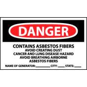 Roll of 500 Hazard Warning Vinyl Labels - Danger Contains Asbestos w/Generator