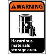 AVERTISSEMENT signe 14 x 10 vinyle - zone de stockage de matières dangereuses