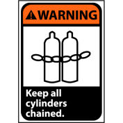 Warning Sign 14x10 Rigid Plastic - Keep All Cylinders Chained