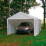 """Shelterlogic Super Max™ Canopy With 2-In-1 Encl Kit 23572, 10'W X 20'L, 2"""" Frame, 8-Leg, White"""