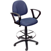 Boss Drafting Stool with Footring and Fixed Arms -Fabric - Blue