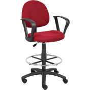 Boss Drafting Stool with Footring and Fixed Arms -Fabric - Burgundy