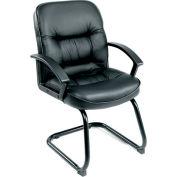 Patron de réception commentaires chaise avec bras - cuir - milieu dos - noir