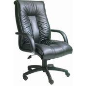 Patron de chaise de bureau exécutif avec les bras, genou et Tilt - cuir italien - dossier haut - noir