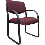 Boss Reception Guest Chair with Lumbar Support - Fabric - Mid Back - Burgundy