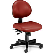 OFM 24 Hour Ergonomic Armless Task Chair, Anti-Microbial/Anti-Bacterial Vinyl, Mid Back, Wine