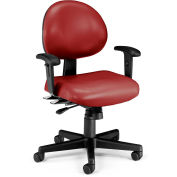 OFM 24 Hour Ergonomic Task Chair with Arms, Anti-Microbial/Anti-Bacterial Vinyl, Mid Back, Wine