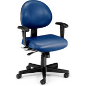 OFM 24 Hour Ergonomic Task Chair with Arms, Anti-Microbial/Anti-Bacterial Vinyl, Mid Back, Navy