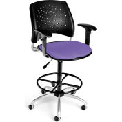 OFM Stars Series Swivel Task Chair with Arms and Drafting Kit, Fabric, Mid Back, Lavender