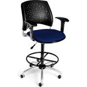 OFM Stars Series Swivel Task Chair with Arms and Drafting Kit, Fabric, Mid Back, Navy
