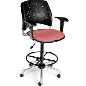 OFM Stars Series Swivel Task Chair with Arms and Drafting Kit, Fabric, Mid Back, Coral Pink