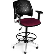 OFM Stars Series Swivel Task Chair with Arms and Drafting Kit, Fabric, Mid Back, Burgundy