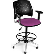 OFM Stars Series Swivel Task Chair with Arms and Drafting Kit, Fabric, Mid Back, Plum