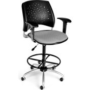 OFM Stars Series Swivel Task Chair with Arms and Drafting Kit, Fabric, Mid Back, Putty