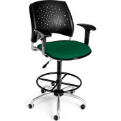 OFM Stars Series Swivel Task Chair with Arms and Drafting Kit, Fabric, Mid Back, Forest Green