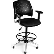 OFM Stars Series Swivel Task Chair with Arms and Drafting Kit, Fabric, Mid Back, Black