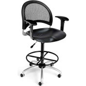 OFM Moon Series Swivel Task Chair with Arms and Drafting Kit, Plastic, Mid Back, Black