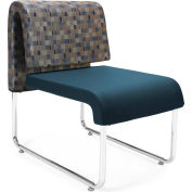 OFM Uno Series Lounge Chair, Fabric and Polyurethane, Blue Jay with Navy - Pkg Qty 2