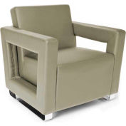 OFM Distinct Series Soft Seating Lounge Chair, Polyurethane, Taupe with Chrome Base
