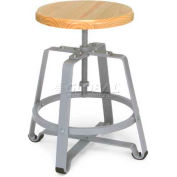 OFM Endure Series Stationary Small Stool, Polyurethane, Maple Wood with Silver Frame