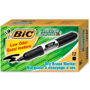 Bic® Great Erase Grip Dry Erase Marker, Chisel Tip, Black Ink, Dozen