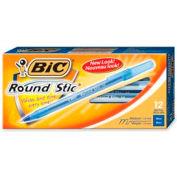 Bic® Round Stic Ballpoint Pen, Medium, Blue Ink, Dozen